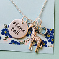 Giraffe Necklace, Stand Tall, Giraffe Jewelry, Dream Big Necklace with Giraffe Charm, Animal Jewelry, Aim High Stand Tall