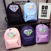 Women Canvas Backpack School Bags Holographic Silver Diamond Solid Teenage Girls Female Men Laptop Sale waterproof bag
