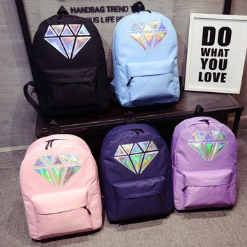 03528961e44 Women Canvas Backpack School Bags Holographic Silver Diamond Sol