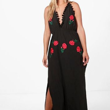 Plus Millie Embroidered Pom Pom Maxi Dress | Boohoo