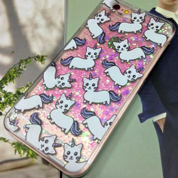 "Super Cute With Our All Over Print Unicorn Cat Case Liquid Glitter Fluorescent Quicksand For Iphone 5 5S C 6 6s 6Plus "" FREE SHIPPING """