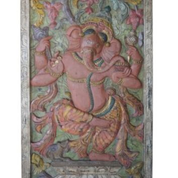 VINTAGE LUXE Dramatic Ganesha Barn Door Hand Carved Wall Relief Panel 72X36