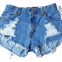 Extra Distressed High Waisted Fringed Festival Denim Vintage Shorts