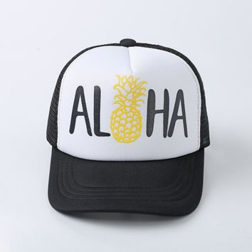 Floral Aloha Hawaiian Tropical Pineapple Print Baseball Cap Trucker Hat