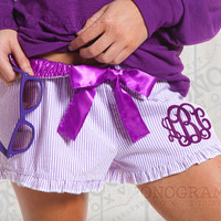 Purple Monogrammed Seersucker Ruffle Pajama Shorts Bitty Boxers - Font shown INTERLOCKING in purple