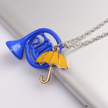 RJ How I Met Your Mother Blue French Horn & Yellow Umbrella Pendant Necklaces With Link Chain Alice in Wonderland Necklace Gift