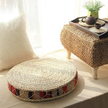 Natural Straw Round Pouf Tatami Floor Cushion