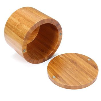 Wooden Natural Bamboo Round Salt Box Spice Jar Container Modern Kitchen Storage Case With Magnet Lid