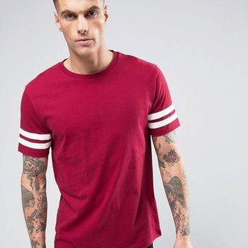 Brooklyn Supply Co College Stripe Sleeve T-Shirt at asos.com