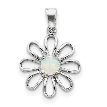 Sterling Silver rhodium Plated Created Opal Daisy Slide QP1192