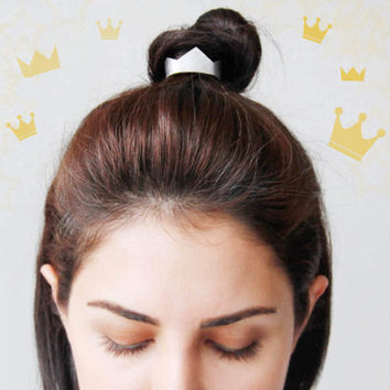 Princess crown leather topknot wrap- gold crown ponytail holder- silver crown hair wrap- leather bun cuff- empress queen hair accessory- new