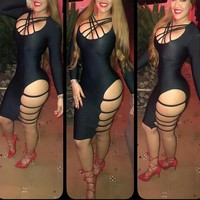 Straps Hollow Out Bodycon Knee-length Dress