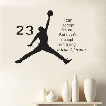 CREYONB 1pcs Michael Jordan Basketball Inspirational Wall Sticker Quotes Vinyl Wall Decals Art