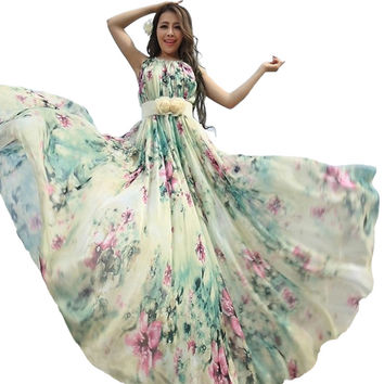 Summer Floral Long Chiffon Maxi Dress Gown Plus Sizes celebrity/graduation/Dinner Dress Beach Bridesmaid Sundress