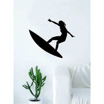 Surfer V2 Silhouette Quote Wall Decal Sticker Bedroom Living Room Art Vinyl Teen Sports Girl Ocean Beach Surf Waves Extreme