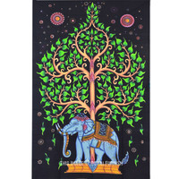 Unique Multicolor Hand Painted Elephant and Tree Tapestry Wall Hanging Bedspread on RoyalFurnish.com