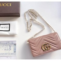 Gucci Classic Popular Women Leather Metal Chain Shoulder Bag Crossbody Satchel High Quality Pink I-BCZ(CJZX)