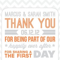 SET of 10 Customized Typography Wedding Thank You Cards in Burnt Orange Tangerine and Grey - Personalized Chevron Wedding Thank You Notes