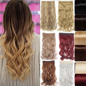 24'' 1 Pcs Clip In Hair Extensions Hairpiece Synthetic Hair Extension Long Wavy Curly Hair Wig