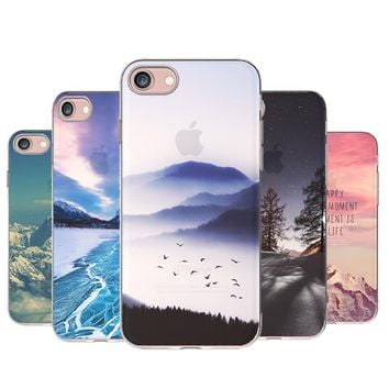 For iPhone 5S Soft TPU Case Cover For Apple iPhone 5 5S SE Cases Phone Shell New Fashion Forest Ocean Landscape Scenery Silicon