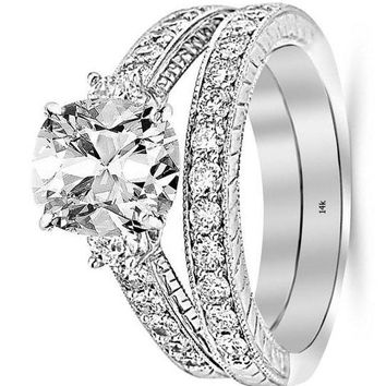 .1.53 Ctw 14K White Gold GIA Certified Cushion Cut Three Stone Vintage with Milgrain & Filigree Bridal Set with Wedding Band & Diamond Engagement Ring, 0.5 Ct I-J VS1-VS2 Center