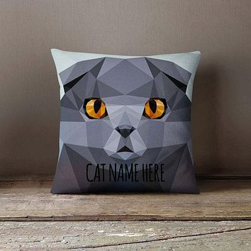 Personalized Geometric Scottish Fold Cat Pillowcase | Decorative Throw Pillow Cover | Cushion Case | Pillow Case | Gift for Pets Lovers