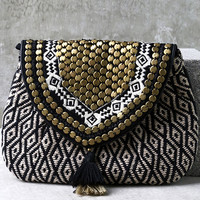 Cape Horn Beige and Black Beaded Clutch