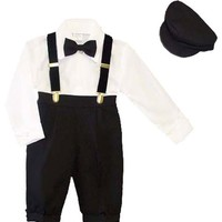 Infants 5-pc Knickers Outfit Tuxedo Style with Velvet Suspenders, Bowtie, Newsboy Cap (Infants 18 Months)