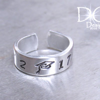 Graduation Ring - Class Ring - Personalized Ring - Graduation Gift - Grad Gift - Hand Stamped Ring - Silver Graduation RIng - Custom Ring