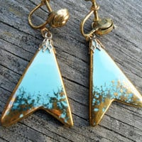 Vintage ATOMIC Turquoise Gold Earrings - 50's Flying V Earrings