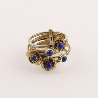 Lapis Sterling Silver Two Tone Stack Ring