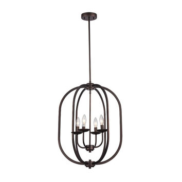CHL-CH59062RB18-UP4 Ironclad, Industrial-Style 4 Light Rubbed Bronze Ceiling Pendant 18 Wide