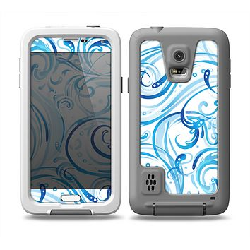 The Wild Blue Swirly Vector Water Pattern Skin for the Samsung Galaxy S5 frē LifeProof Case