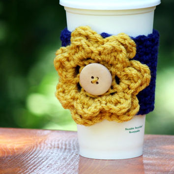 Dark Blue with Yellow Flower and Wooden Button Cup Cozy, Coffee Sleeve