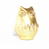 "Gold Owl Figurine 6"" Tall x 5"" Wide, Office, Bedroom, Closet"