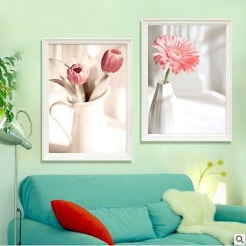 3D Pink Margaret Romantic Flowers Canvas Cross Stitch Kits Accurate Printed Embroidery DIY Handmade Needle work Wall Home Decor