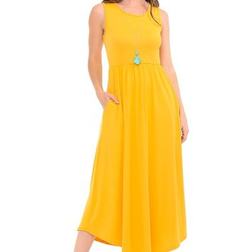 Sleeveless Long Dress with Pockets