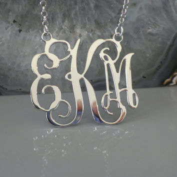 """Three Initials Monogram Necklace - 1.25"""" Inch -925 Sterling Silver - Personalized Design - Christmas Gift"""