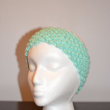 Mint Colored Knitted Headband, Knit Head Accessory, Ear Warmer Headband, Beaded Pattern