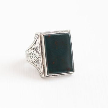 Antique Art Deco Sterling Silver Bloodstone Ring - Vintage 1920s Size 9 1/2 OB Ostby & Barton Titanic Men's Statement Green Red Gem Jewelry