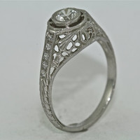 14kt White Gold and Diamond Hand Engraved Engagement Ring with .30ct White Sapphire Center