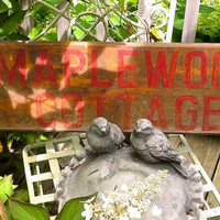Vintage Painted Wooden Sign - Maplewood Cottage Advertising - Hand Painted Cabin Marker - Shabby Rustic Primitive Decor