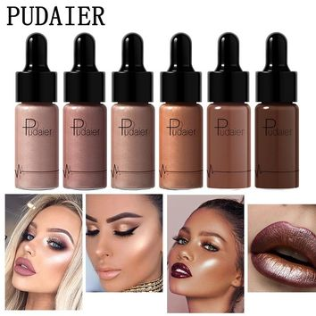 Pudaier Highlighter Liquid Drop for Dark Skin Concealer Face Contouring Makeup iluminador maquiagem Gold Highlighters Bronzers