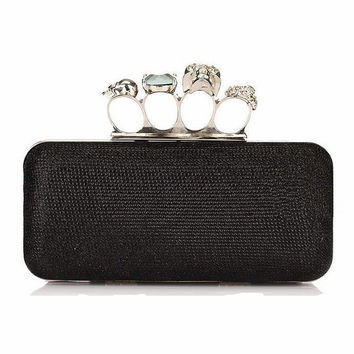 Fashion Women Knucklebox Clutch Skull Knuckle Ring Evening Bag Hardcase Handbags Shoulder Chain Punk Wallet Purse Drop Shipping