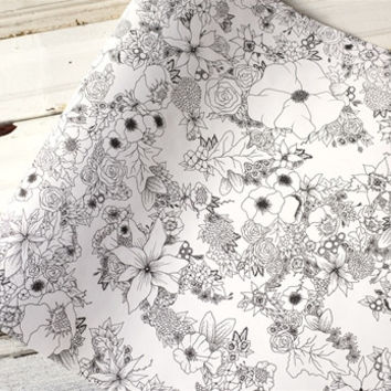 "20"" Floral Coloring Paper Runner Roll"