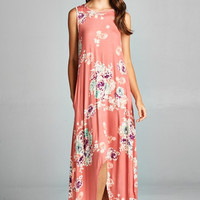 High Low Floral Maxi Dress