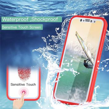 360° Waterproof Shockproof Dustproof Rubber Full Cover Case For iPhone 8 Plus / 8 / X /7 / 7 Plus / 6 / 6 Plus / 6s / 6s Plus /