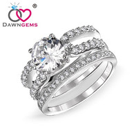 DawnGems AAA Cubic Zirconia White Gold Plated Wedding Ring Set For Men and Women Engagement Rings Bridal Bands Brand DG8013 = 1929772996