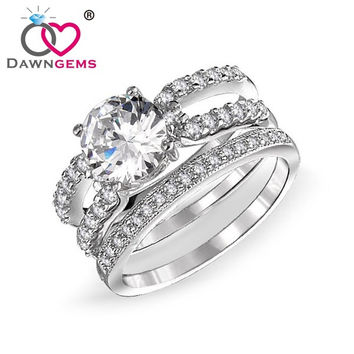 dawngems aaa cubic zirconia white gold plated wedding ring set for men and women engagement rings - White Gold Cubic Zirconia Wedding Rings