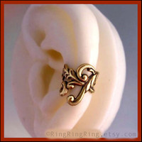 Empire ear cuff earring Left Antiqued gold brass by RingRingRing